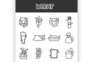 Wheat flat cartoon icons