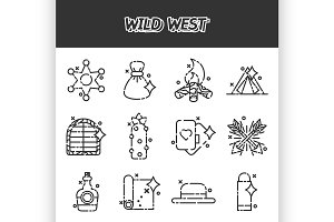 Wild west cartoon concept icons