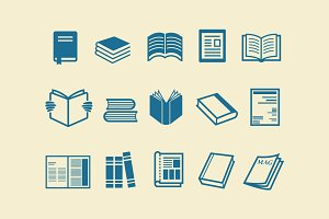 15 Book Magazine Icons