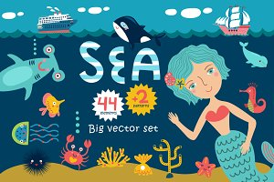 SEA cute vector set