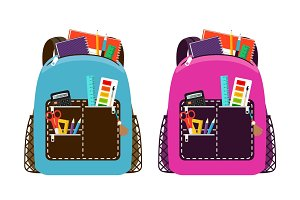 Blue and pink schoolbags