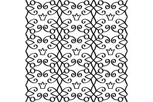 Princess linear black pattern with crowns