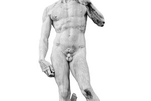 Statue of David isolated on white