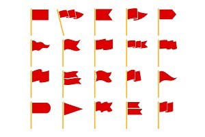 Red flags on yellow staves icons