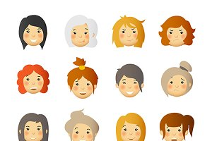 Women cute avatars set