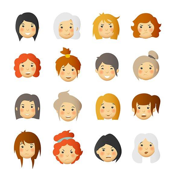 Women Cute Avatars Set