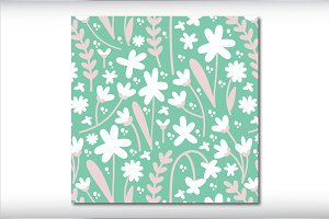 Mint Floral Seamless Repeat Pattern