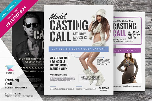 Casting call flyer templates flyer templates creative market casting call flyer templates flyers pronofoot35fo Choice Image