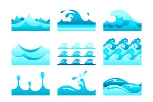 Blue water pattern tiles set