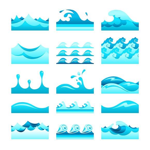 Blue Water Pattern Tiles Set