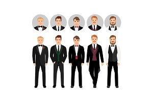 Fashion cartoon elegant business men set