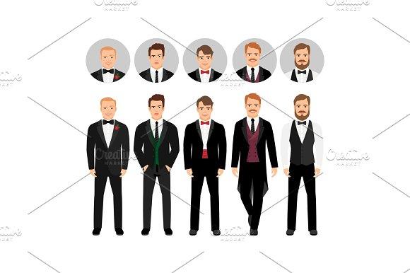 Fashion Cartoon Elegant Business Men Set