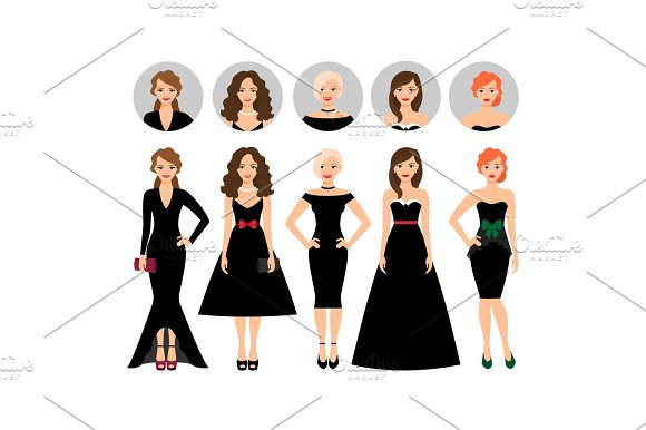 Young Woman In Different Black Dresses