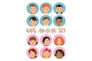 Kids boys and girls avatar set