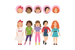 Teenage girls with avatar icons set