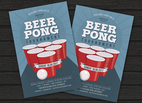 Beer Pong Party Flyer Templates Creative Market