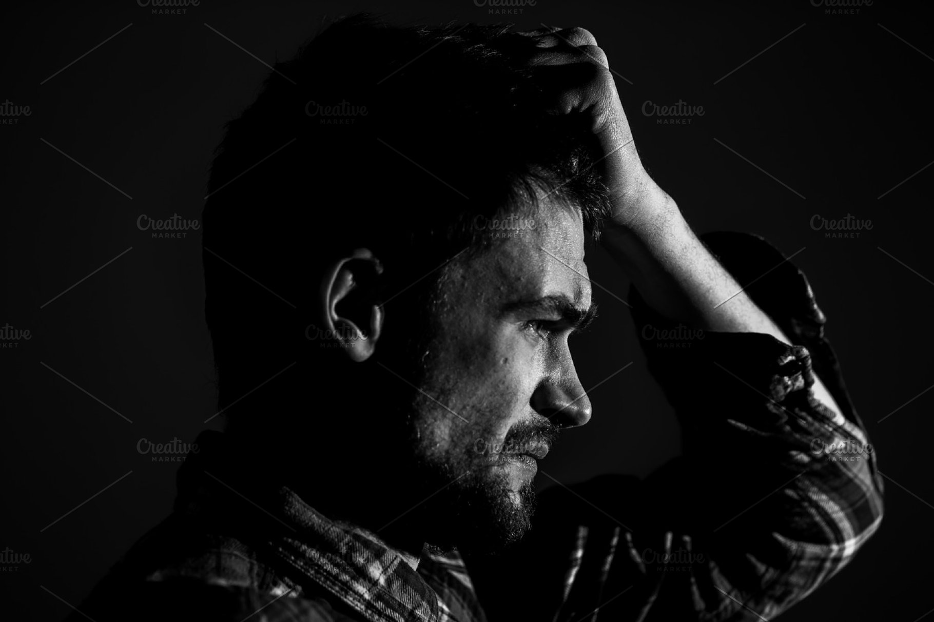 Young man sad emotions black and white photography