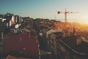Cityscape of old part of Lisbon