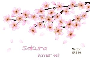 A set of banners with sakura flowers