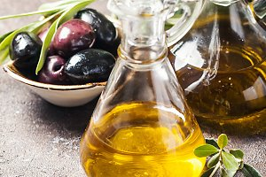 Olive oil and olive branch
