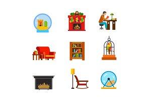 Domestic life icon set