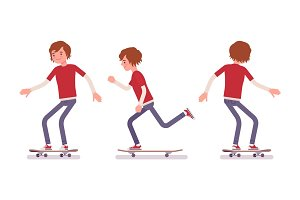 Skateboarder boy, riding in motion