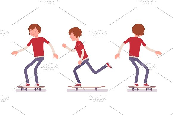 Skateboarder Boy Riding In Motion