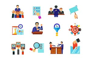 Elections and time management icon set