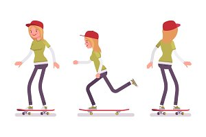 Skateboarder girl, riding in motion