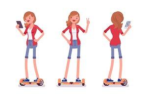 Gyroscooter girl balancing with smartphone