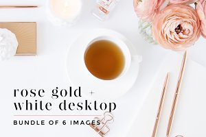 Rose Gold + White Desktop Bundle