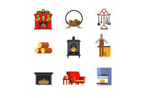 Fireplace concept icon set