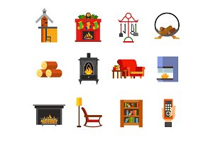 Fireplace icon set