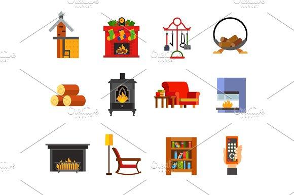 Fireplace Icon Set