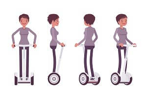 Woman riding a white electric scooter