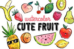 Watercolor Cute Fruit Clipart