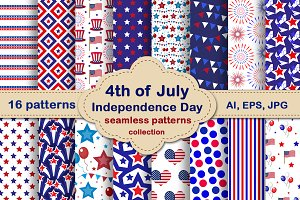 July 4th seamless patterns set