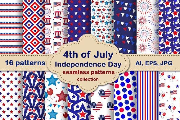 July 4th Seamless Patterns Set