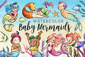 Watercolor Baby Mermaids Clipart