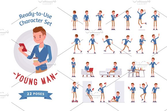 Ready-to-use Young Man Character Set Various Poses And Emotions