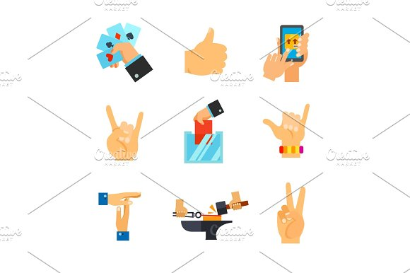 Hand Signs Icon Set