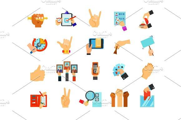 Hand Symbol Icon Set