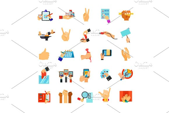 Hands Holding Different Objects Icon Set