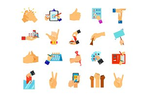 Hands icon set