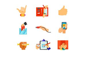Hands in various spheres of life icon set
