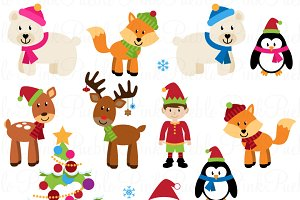 Christmas Animals Clipart & Vectors