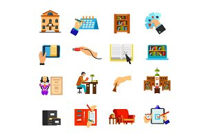 Library icon set