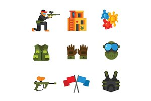 Paintball icon set