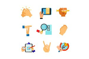 Positive gesture icon set
