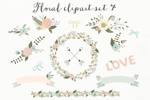 mint and peach floral clip art